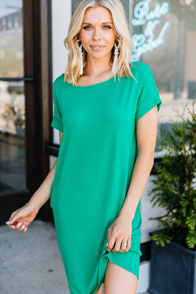 short sleeves, round neckline, pockets, kelly green, tshirt dress, dress