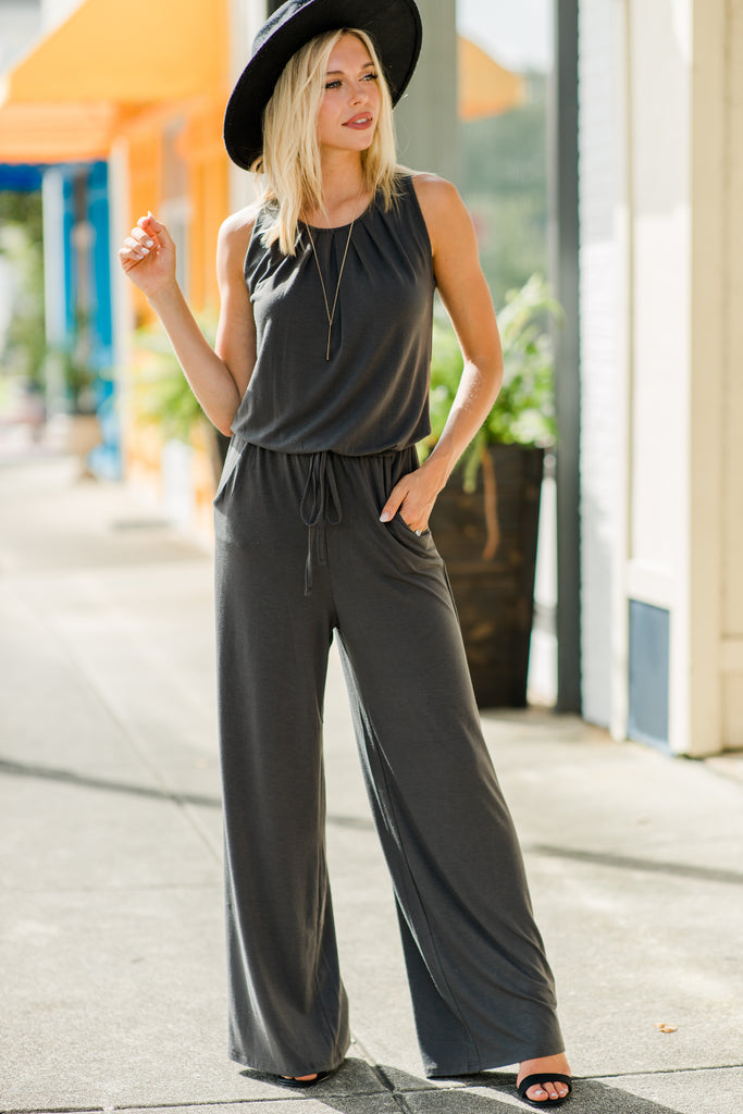 Feeling So Free Ash Gray Jumpsuit