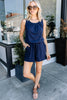 pleated scoop neckline, tank straps, pockets, tied waistband, romper, navy blue