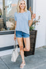 classic fit, round neckline, short sleeves, ash blue, henley top, top