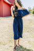 elastic waistband, off the shoulder neckline, cropped jumpsuit, jumpsuit, navy blue, strapless