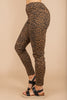 On The Edge Mocha Brown Leopard Moto Jeggings