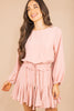 romper dress, dusty rose, round neckline, smocked waistline, long sleeves