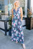 sleeveless, v-neckline surplice, navy blue, floral print, maxi dress, dress