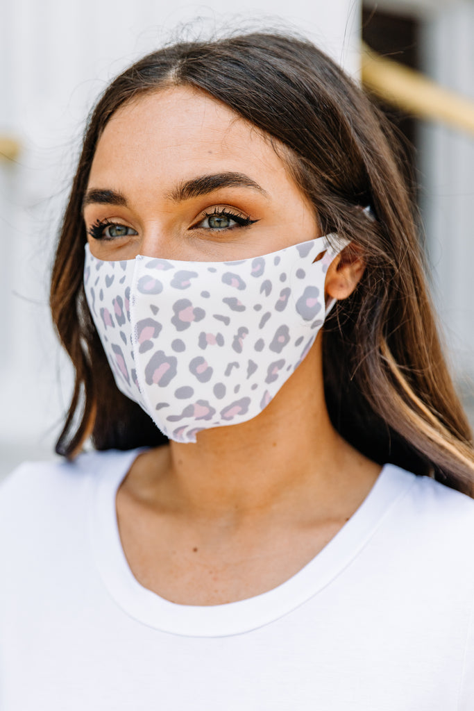 Keep It Covered Gray Leopard Face Mask