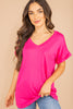 short sleeves, scoop neckline, fuchsia pink, pocket tee, tee