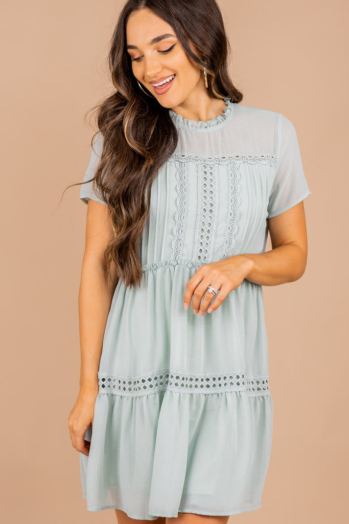 ruffle details, crochet, short sleeves, ruffled dress, dress, seafoam green