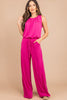 scoop neckline, hot pink jumpsuit, jumpsuit, tied waist, pockets