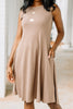 round neckline, pockets, mocha brown, swing dress, dress