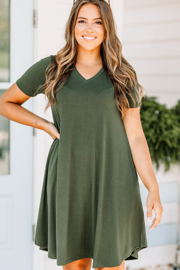 Lean On Me Army Green T-shirt Dress