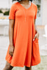 tshirt dress, pockets, v-neckline, ash copper orange, short sleeves