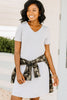 tshirt dress, pockets, v-neckline, heather gray, short sleeves