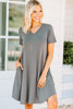 Lean On Me Mid Gray T-shirt Dress