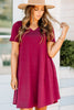 Lean On Me Wine Red T-shirt Dress