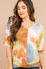 short sleeves, v-neckline, neon yellow, tie-dye print, top, tie dye top