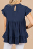ruffle short sleeves, navy blue, tiered babydoll top, top, round neckline