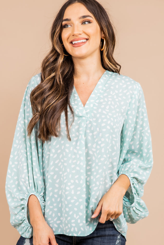 v-neckline, long bubble sleeves, spotted leopard print, mint green, leopard print top