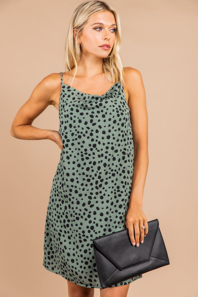 No Accident Deep Sage Green Leopard Dress