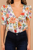 floral print, puff short sleeves, white floral, bodysuit, floral bodysuit, light, v-neckline