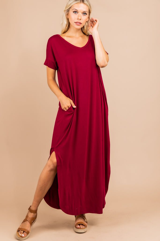 Casual Cabernet Red Maxi Dress - Trendy