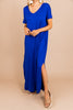 short cuffed sleeves, v-neckline, denim blue maxi dress, maxi dress, dress, pockets