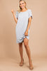 wide neckline, short sleeves, light gray, tshirt dress, dress
