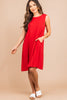 wide neckline, ruby red, tank dress, dress, sleeveless