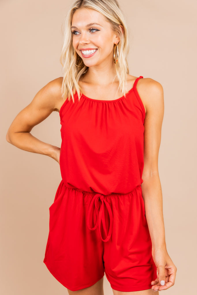 pockets, red romper, red, skinny straps