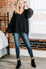 long bubble sleeves, v-neckline, black, swiss dot top, top