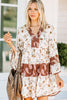 3/4 wide sleeves, a v-neck, a mix of paisley and floral prints. boho dress, paisley dress, floral dress