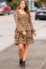 smocked layered leopard dress