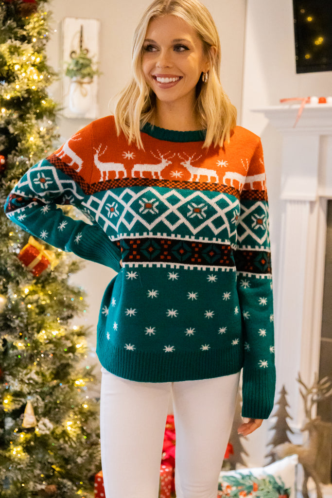 holiday printed sweater