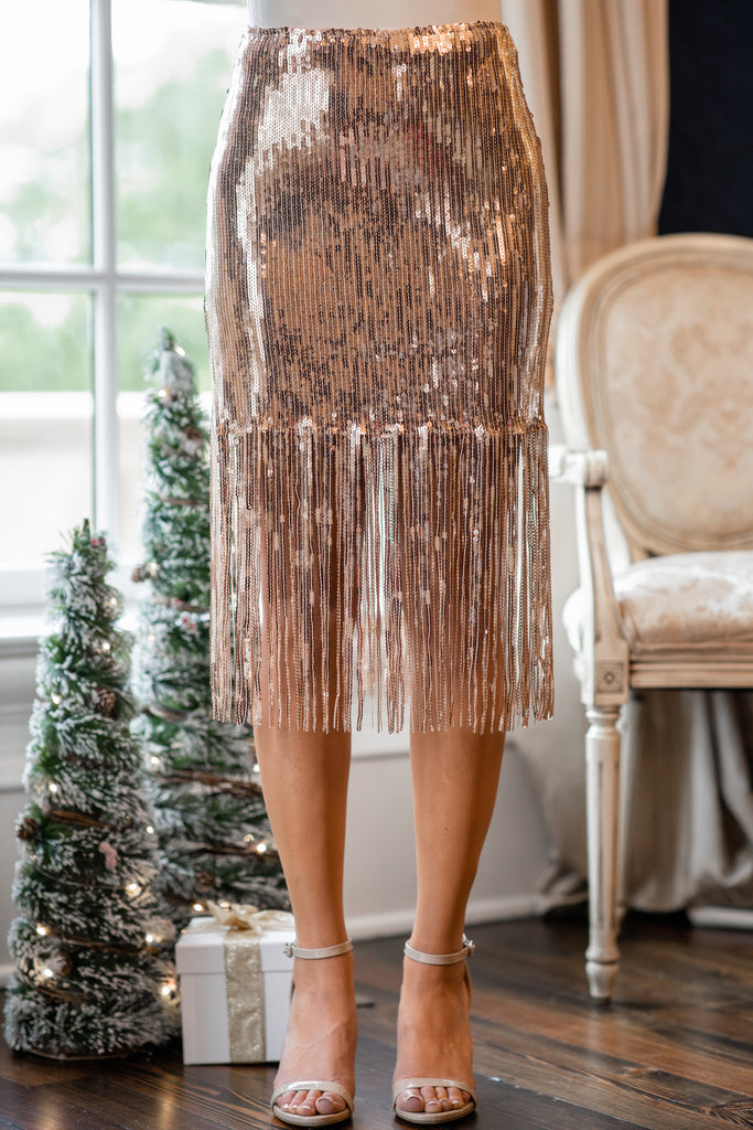 sequin fringe skirt
