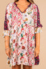 mixed floral print, dress, v-neckline, floral dress, blush pink