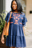 short sleeves, round neckline, floral embroidery, navy blue, embroidered dress, dress