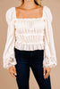 ruffled crochet detail blouse