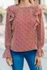In Your Comfort zone Rust Orange Ditsy Floral Blouse