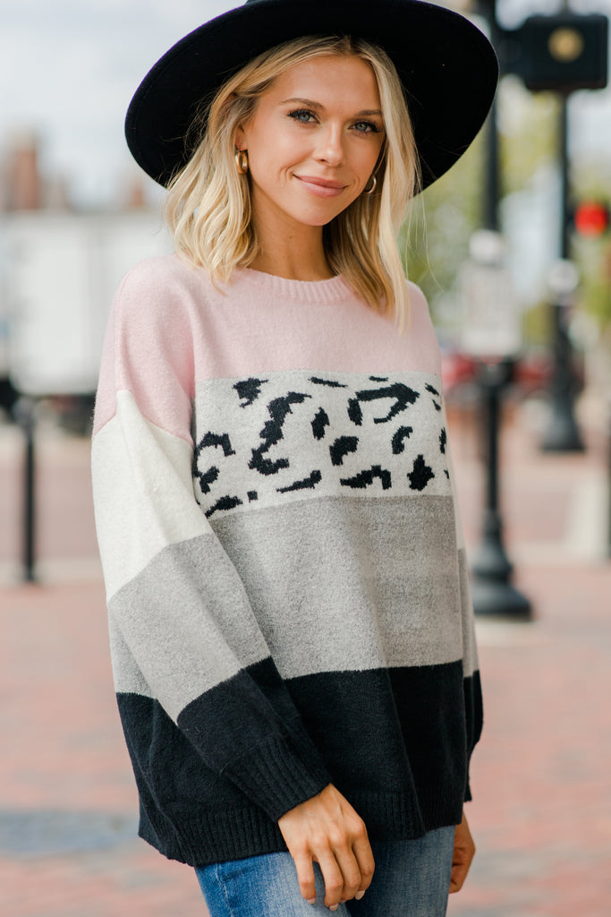 Tell You Why Pink Leopard Sweater