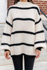 striped bubble sleeve sweater