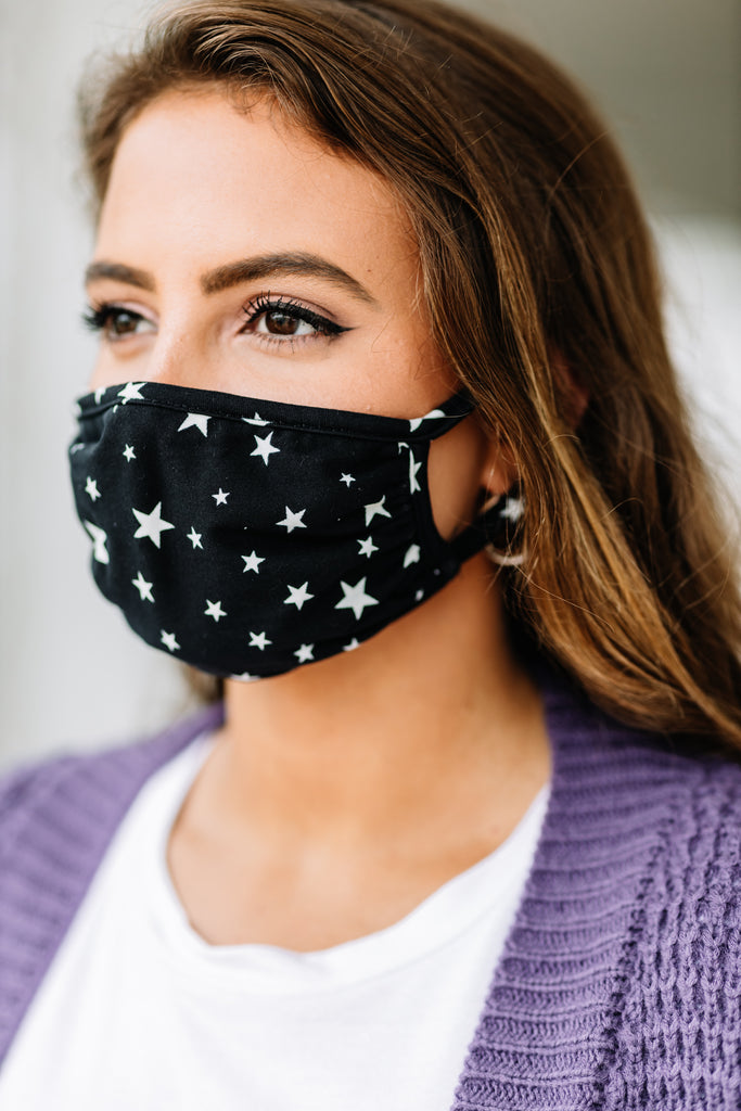 The Eyes Say It All Black Star Print Washable Face Mask The Mint Julep Boutique