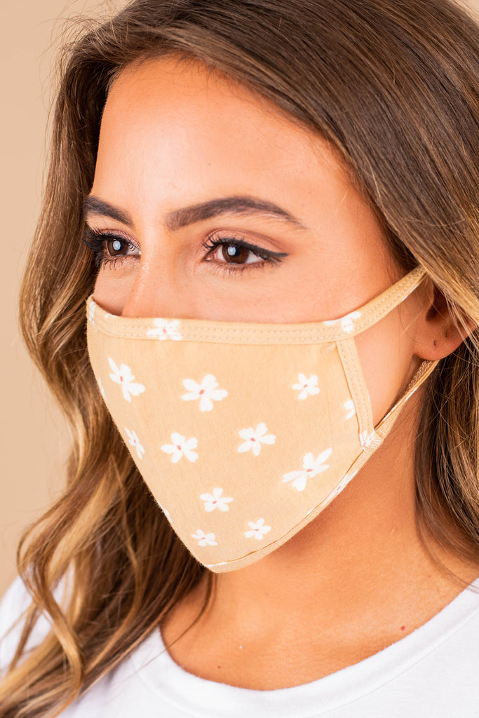 floral print, taupe brown, washable face mask