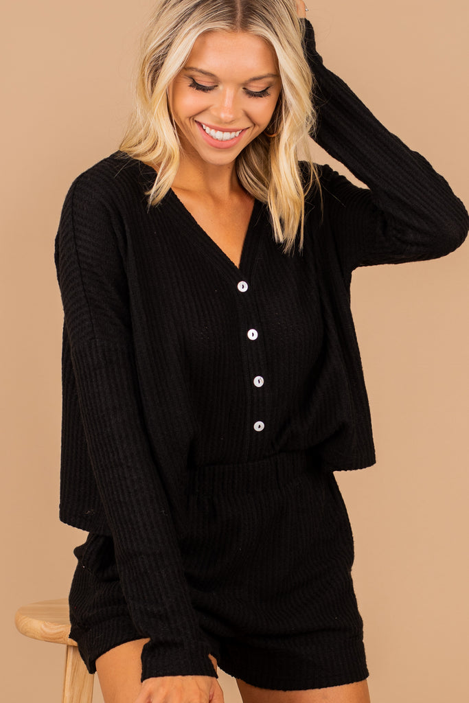 Get The Message Black Waffle Knit Lounge Top
