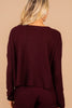 Get The Message Burgundy Red Waffle Knit Lounge Top
