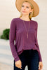 long sleeves, round neckline, eggplant purple, classic top, top