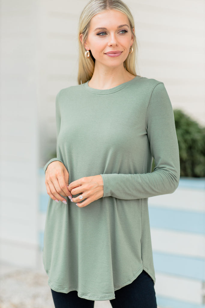 top, round neckline, long sleeves, olive green