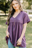 short sleeves, a v-neck, babydoll fit, babydoll top, purple