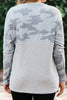One And Only Army Gray Camo Top