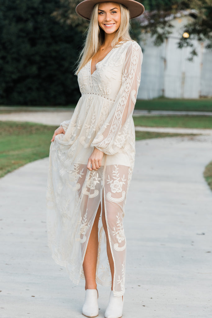 long sleeves lace maxi dress