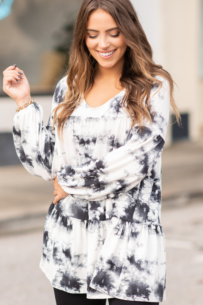 It's The Truth White Tie Dye Babydoll TOp