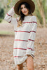 Don't Keep Me Waiting Burgundy Striped Sweater Dress